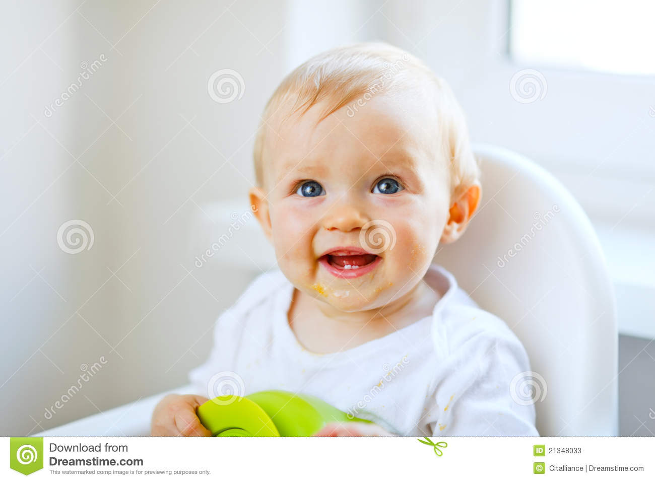 Lovely Baby Sitting In Baby Chair Stock Photos Image