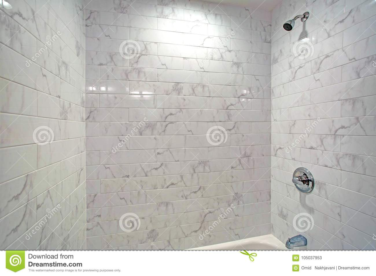 Lovely Bathroom Features A Drop-in Tub With Shower Stock Image ...