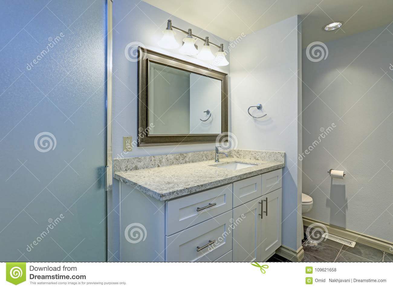 Marvelous Lovely Bathroom With Soft Blue Walls Paint Color Stock Photo Home Interior And Landscaping Mentranervesignezvosmurscom