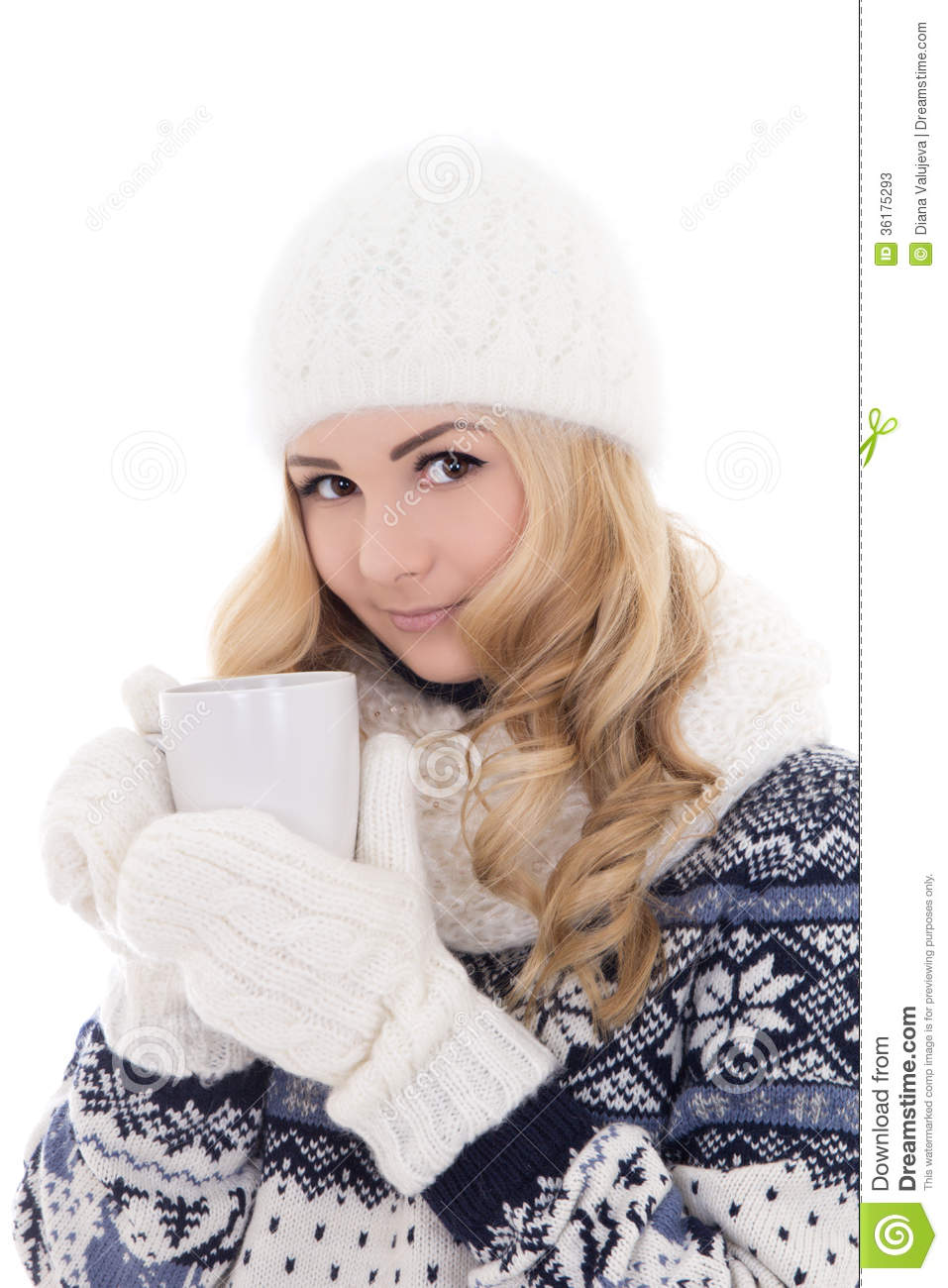 6709e0984d59 Lovely Beautiful Girl In Winter Clothes With Cup Of Tea Isolated ...