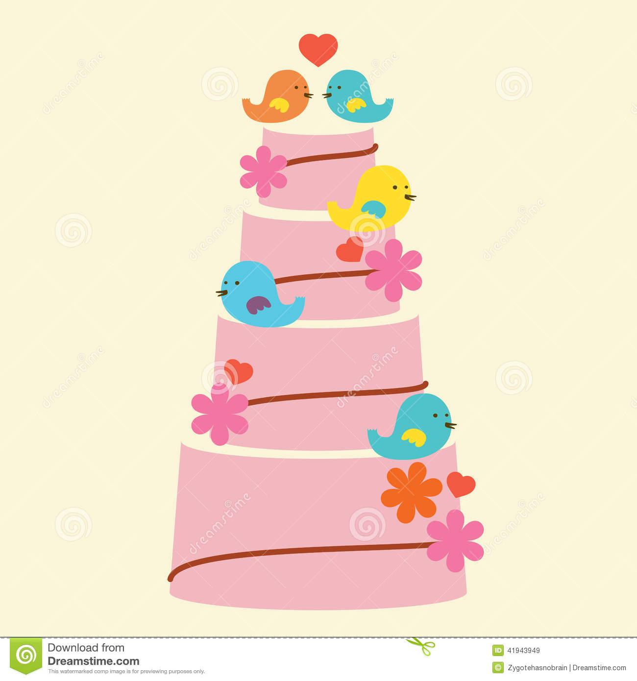 Lovely Birds With Wedding Cake Stock Vector Illustration Of