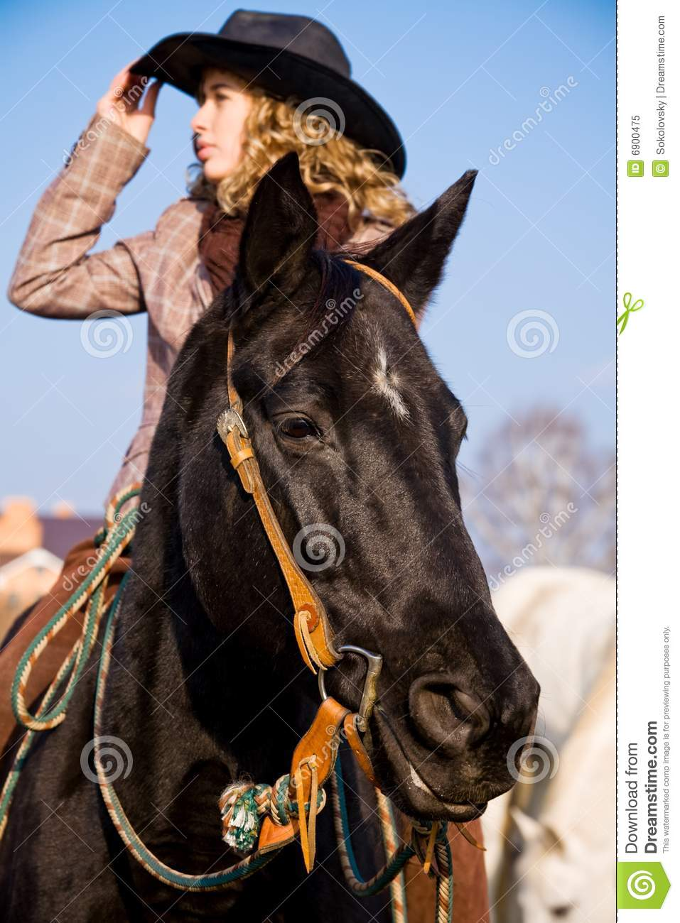 Lovely blond woman riding in countryside