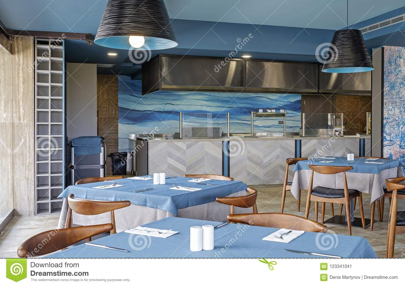 Blue Interior Of Restaurant With Sea Theme 1 Stock Image Image Of Estate Cooking 123341041