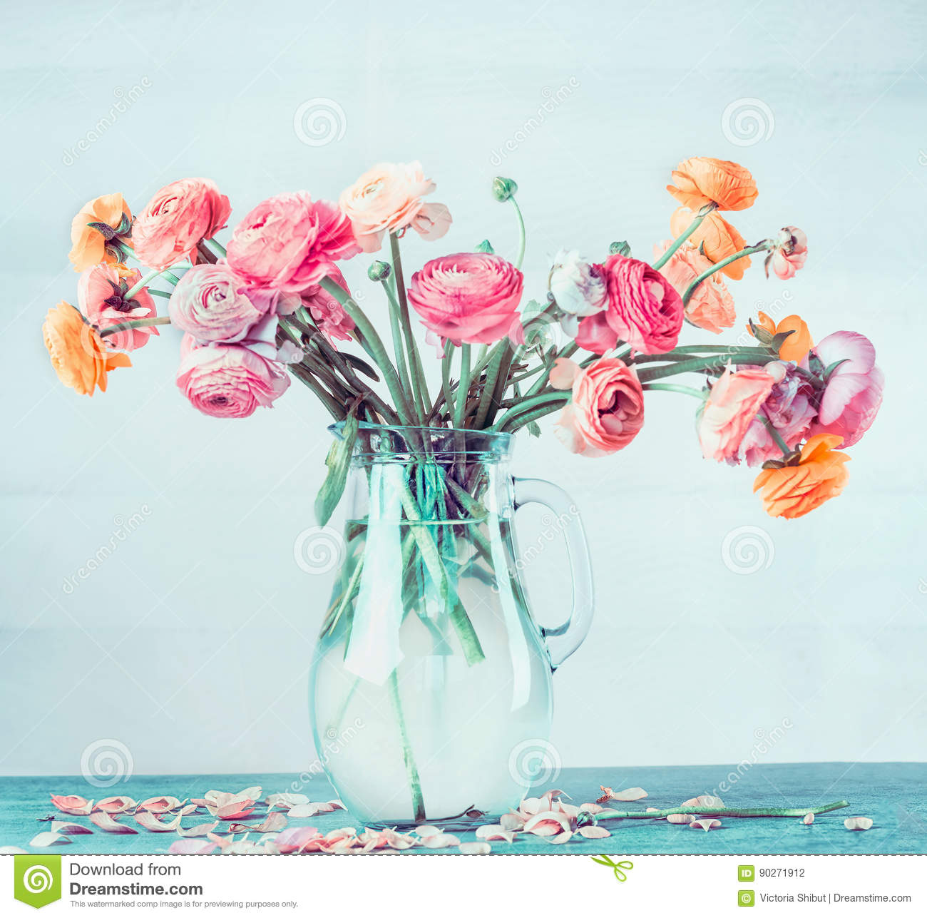 Lovely bouquet of beautiful ranunculus flowers in glass vase on download comp izmirmasajfo