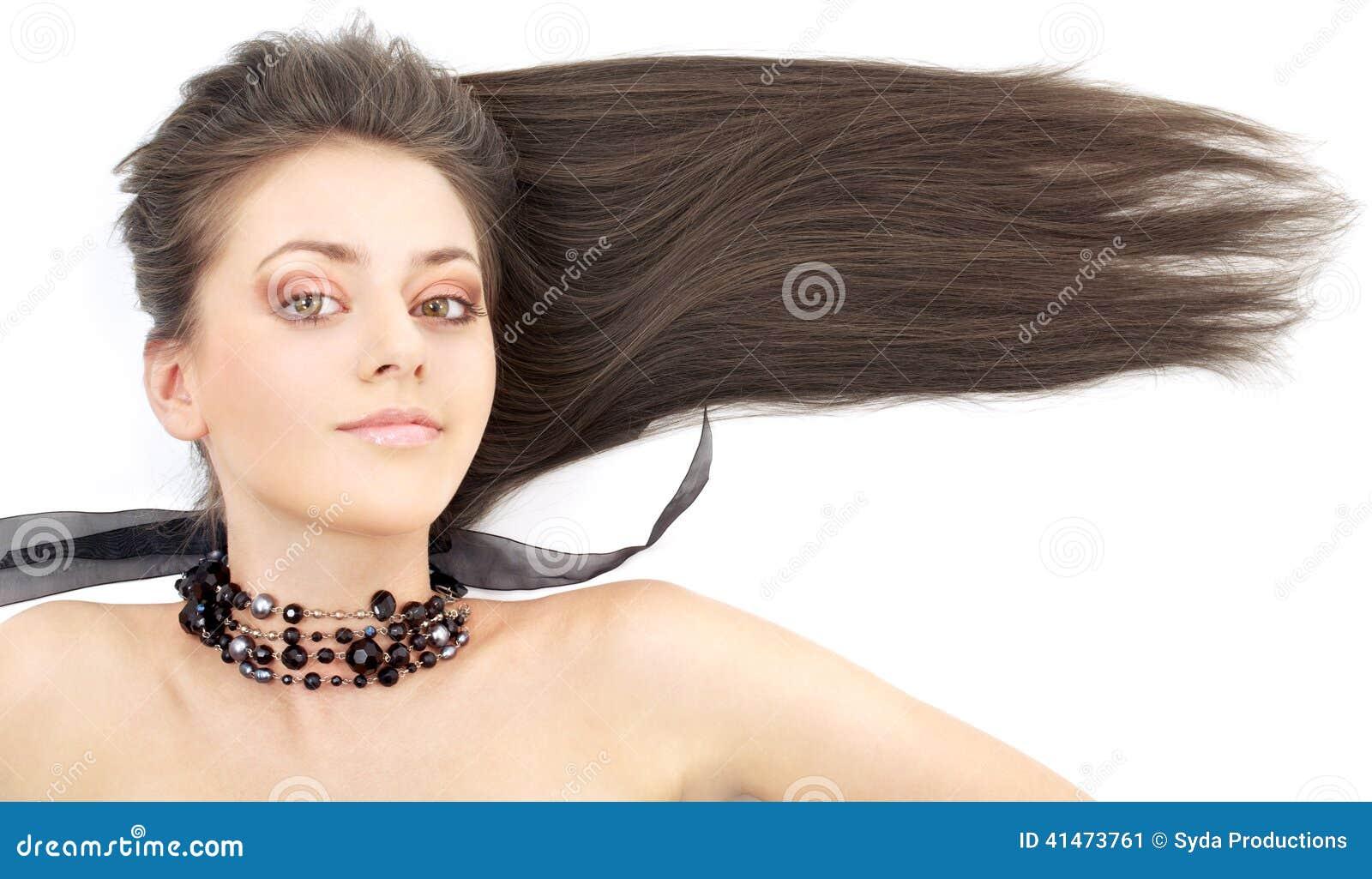 Lovely brunette in black collar