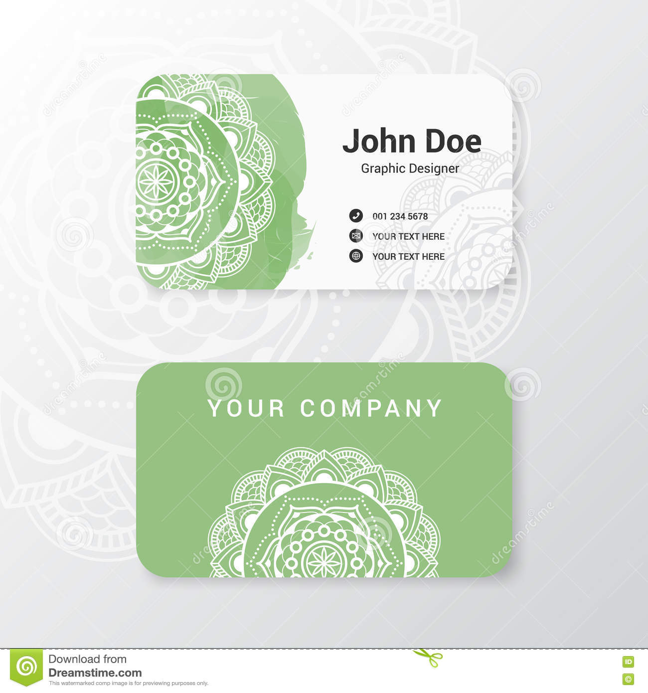 Lovely Business Name Card Template Stock Vector