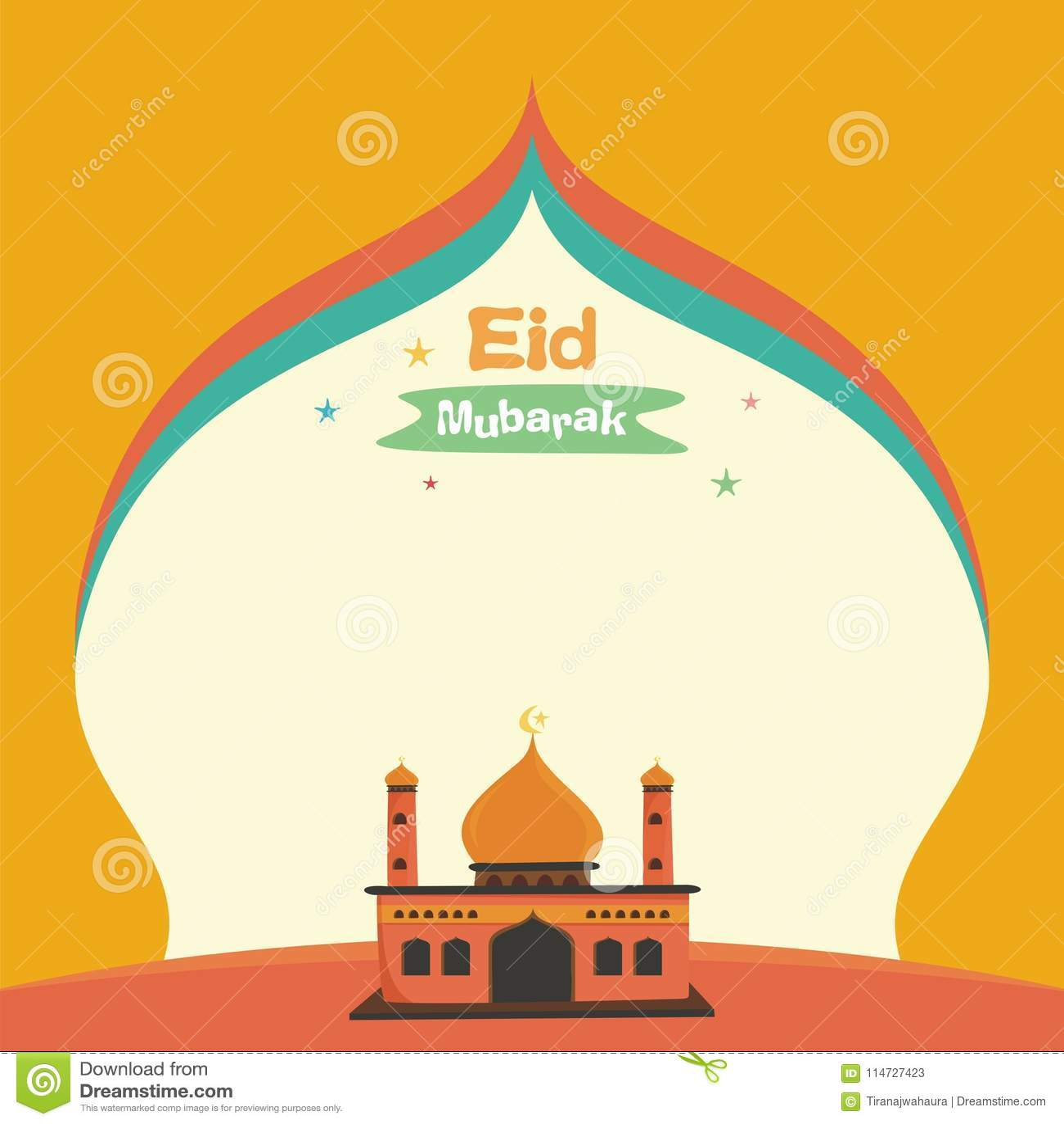Lovely Cartoon Eid Mubarak Card