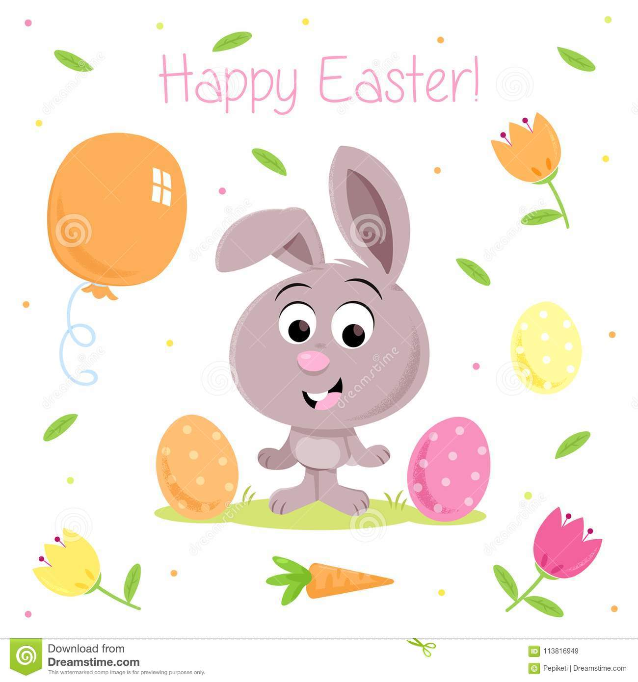 funny easter bunny spring party elements for greeting cards and