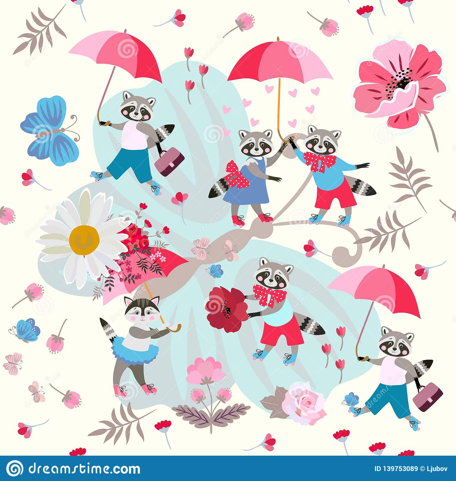 1b5e5804fcd Lovely cartoon raccoons and kitty with umbrellas and flowers on a large  blue butterfly. Seamless pattern for children.