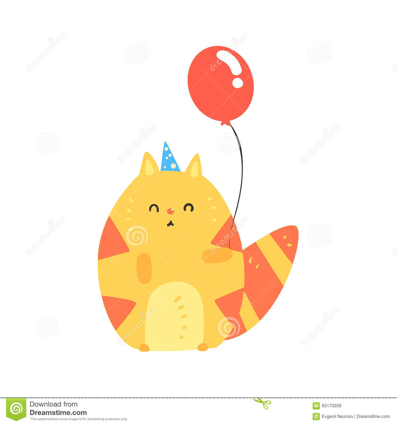 Lovely Cartoon Red Cat In A Blue Party Hat Holding Balloon Happy Birthday Colorful Vector
