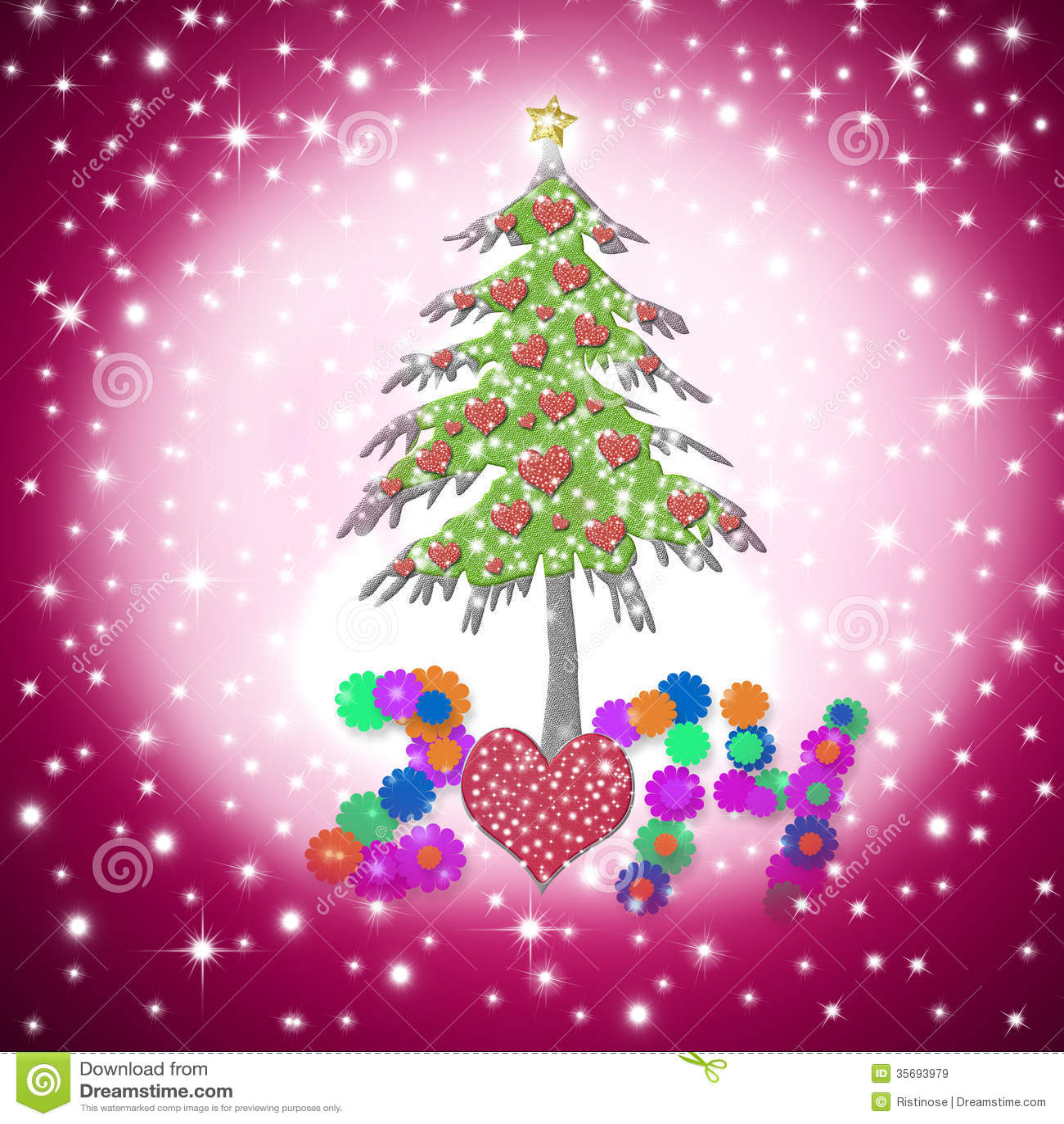 Lovely Child Christmas Greeting Card 2014 Stock Illustration
