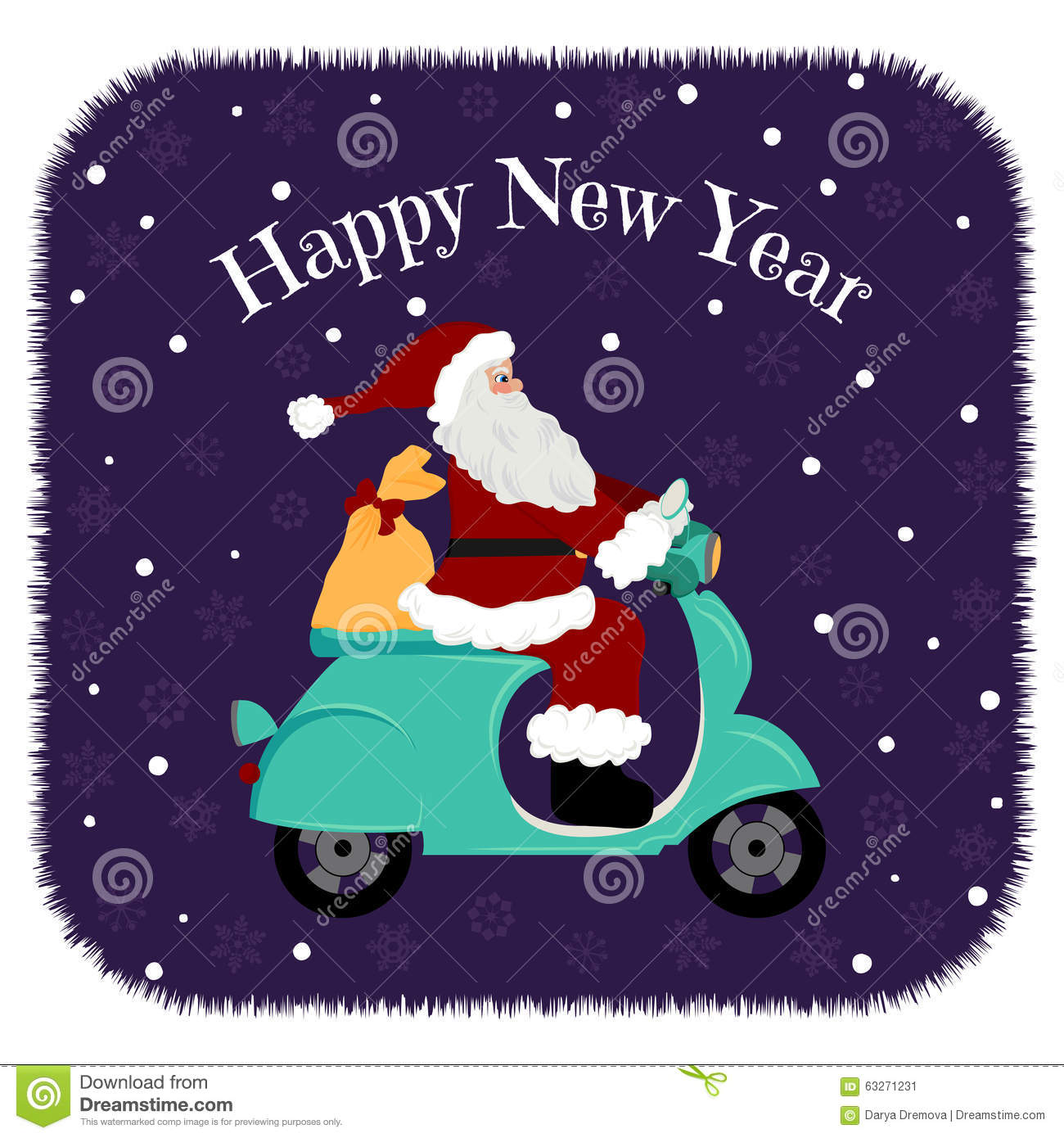 Lovely Christmas Card Santa Driving Motorcycle Delivery The Gifts