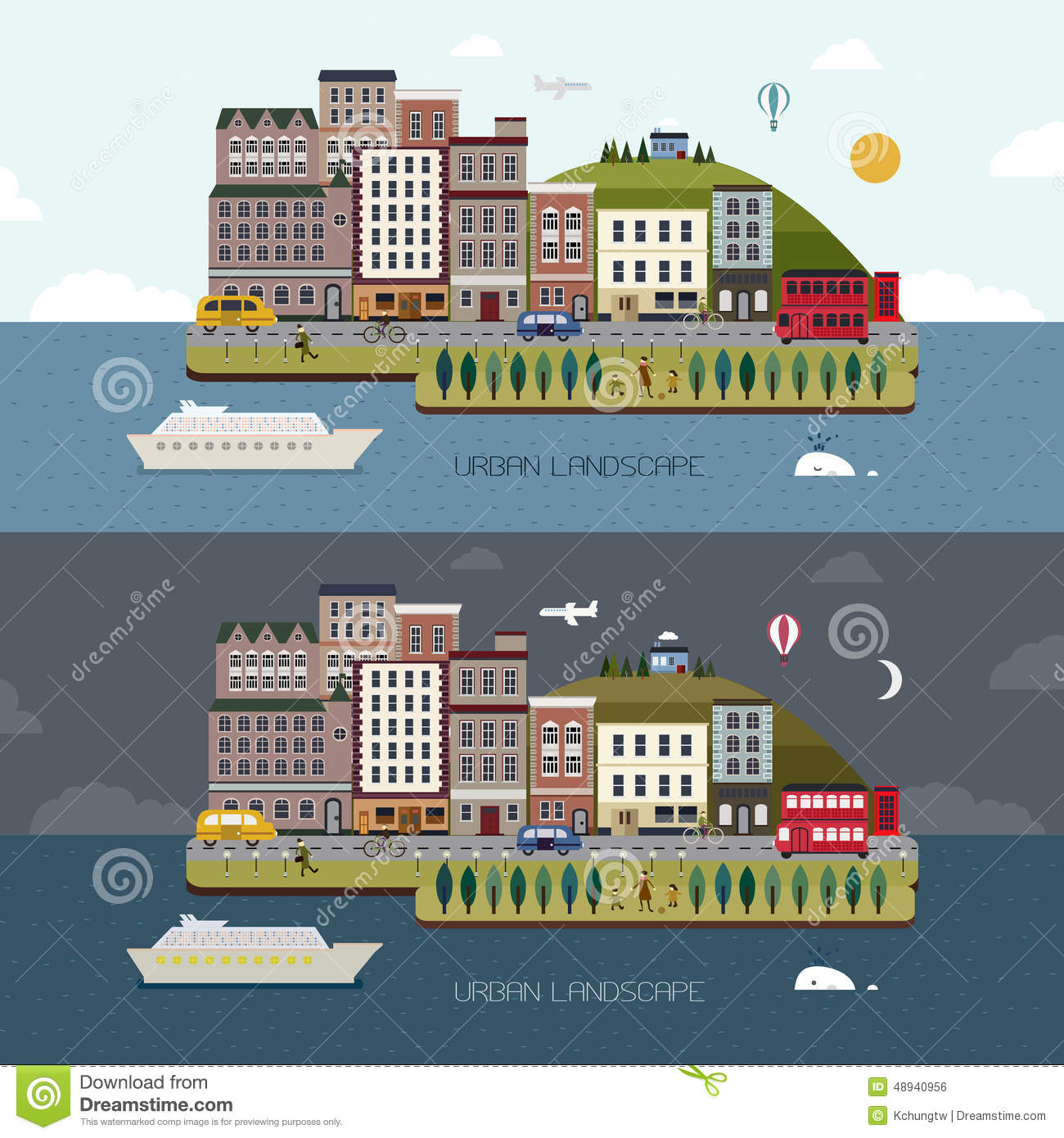 Landscape Design In A Day: Lovely City Landscape Day And Night In Flat Design Vector