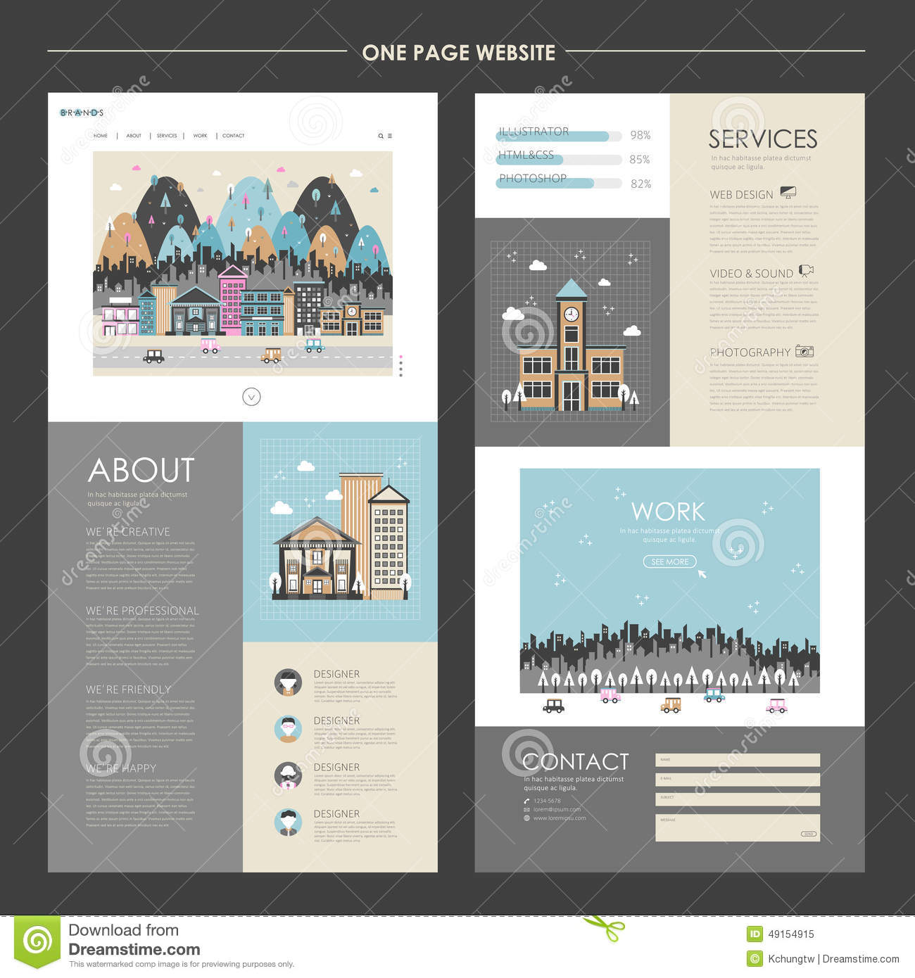 Lovely cityscape one page website design