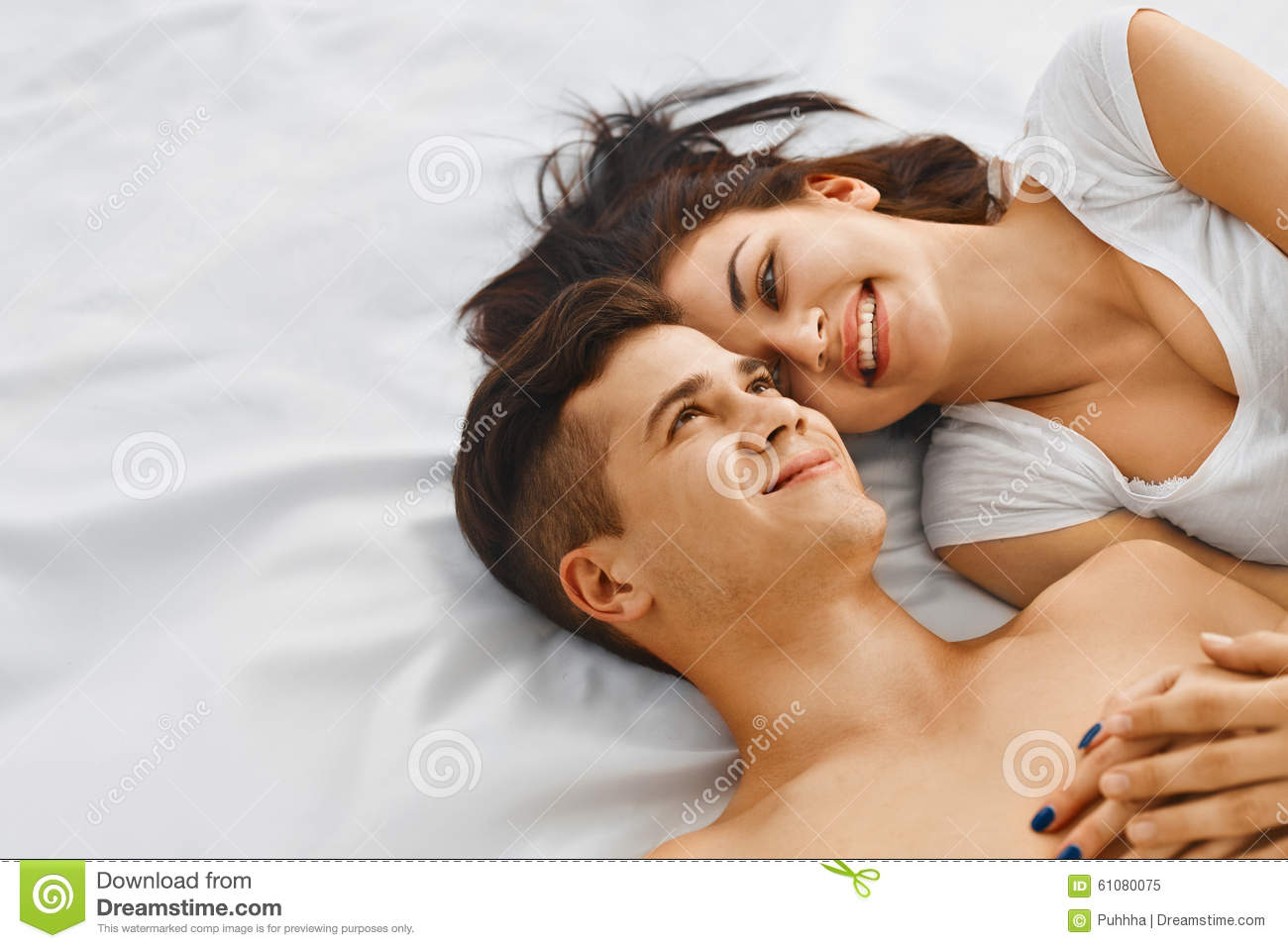 Lovely Couple In Bed Lying In Bedroom Lovely Couple In Bed Stock Photo Image 61076521