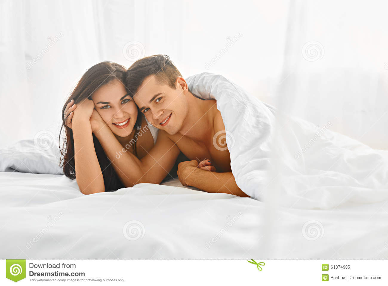 Lovely Couple In Bed Lying In Bedroom Lovely Couple In Bed Stock Photo Image 61074985
