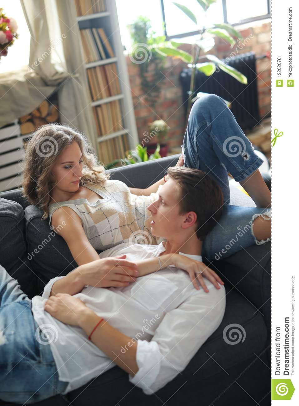 Lovely Couple At Home Stock Image Image Of Cute Apartment 122020761