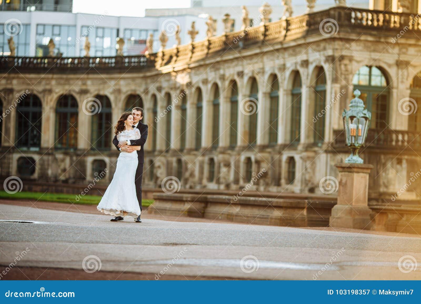 Lovely couple hugging in gorode. Europe.