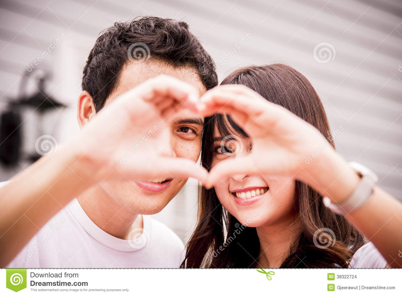 Lovely Couple With Love Hand Sign Stock Photo Image Of Hand