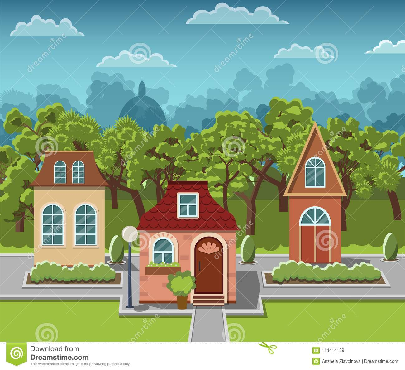 Lovely Cozy Houses In A Fairy Tale Town Stock Vector