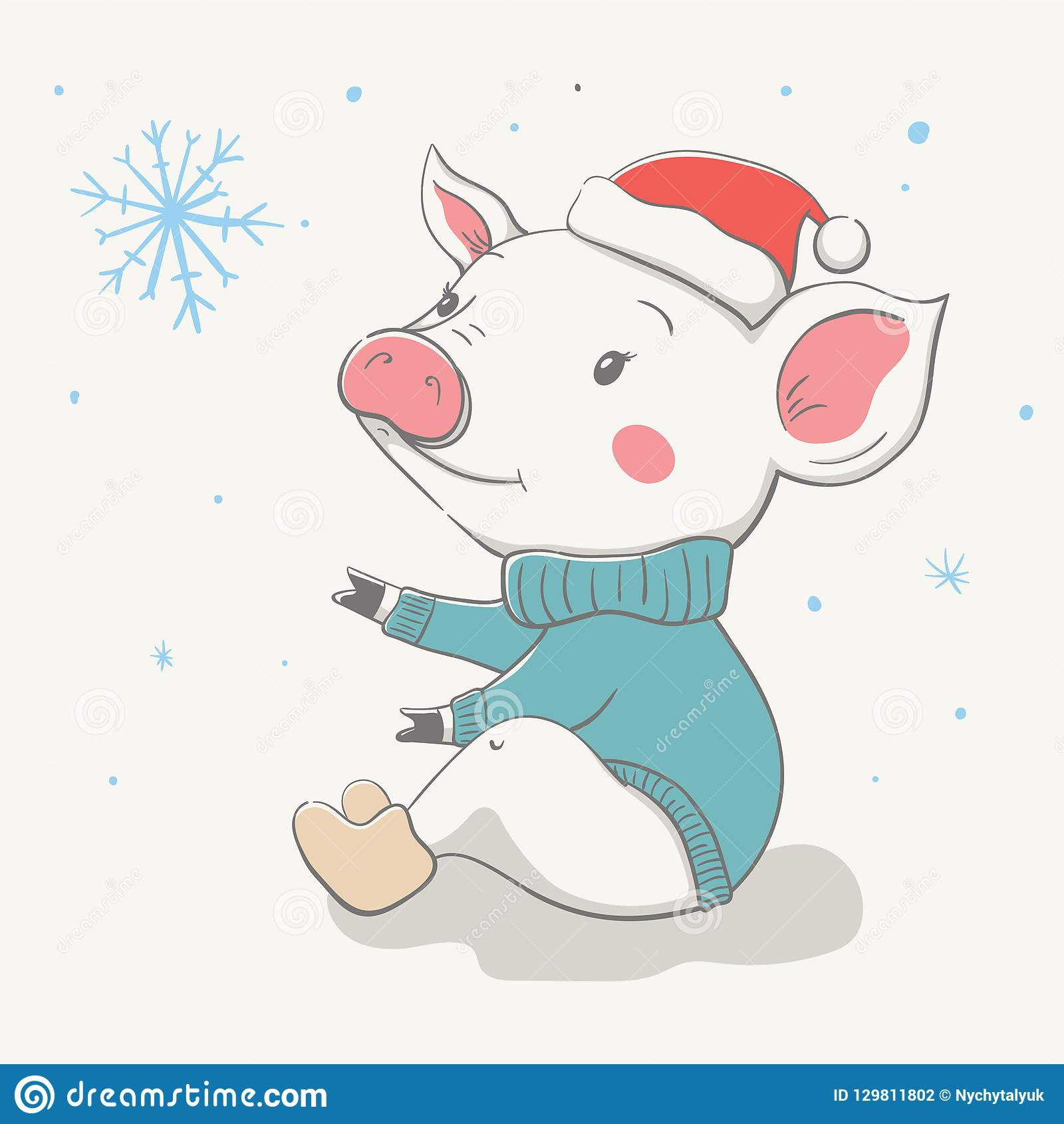 Christmas Hat Drawing Easy.Lovely Cute Cheerful Piggy Sits In A Red Christmas Hat And