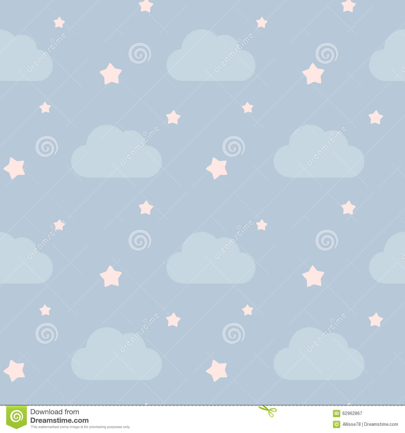 Lovely Cute Sky With Clouds And Pink Little Stars Seamless