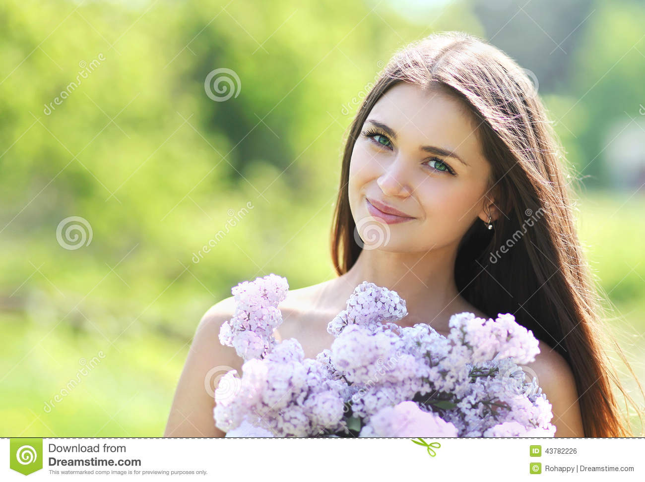 Stock Photo Lovely Cute Smiling Girl Bouquet Lilacs Summer Image437822...