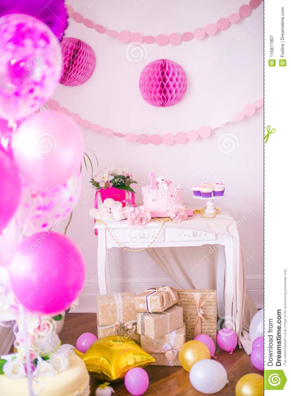 A Lovely Delicious Candy Bar In Pink And Gold Colors For Little Princess On Her 1st Birthday Beautifully Decorated Childrens Party With Balloons Flowers