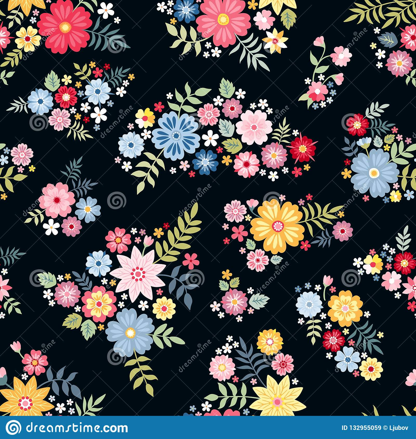Lovely Ditsy Floral Pattern With Cute Abstract Flowers In Vector