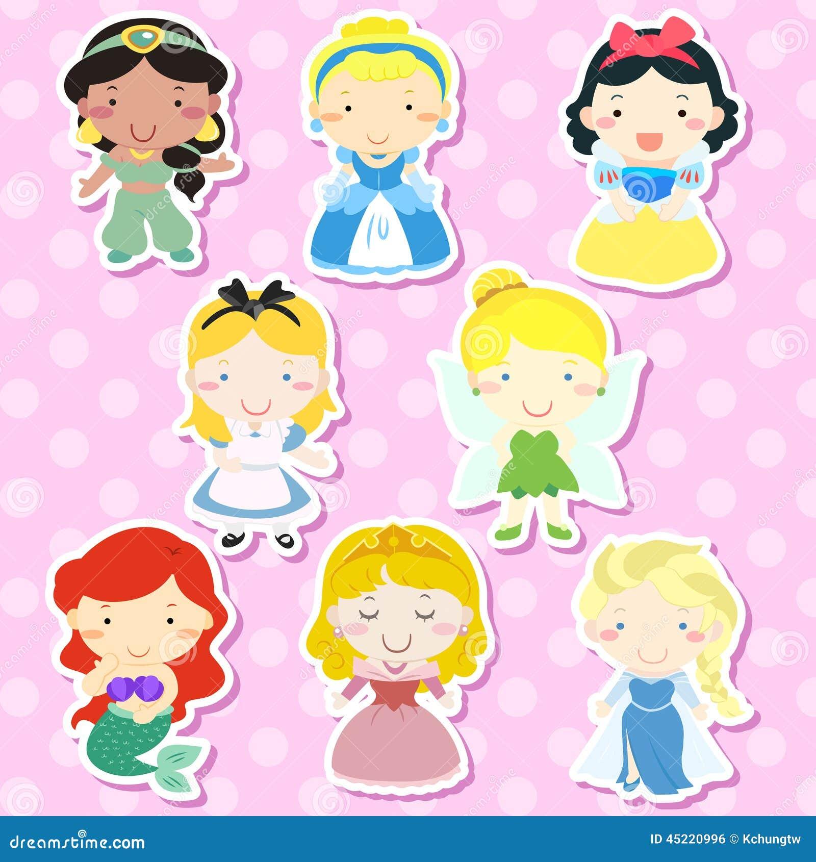 Fairytale Settings: Lovely Fairy Tale Characters Set Stock Vector