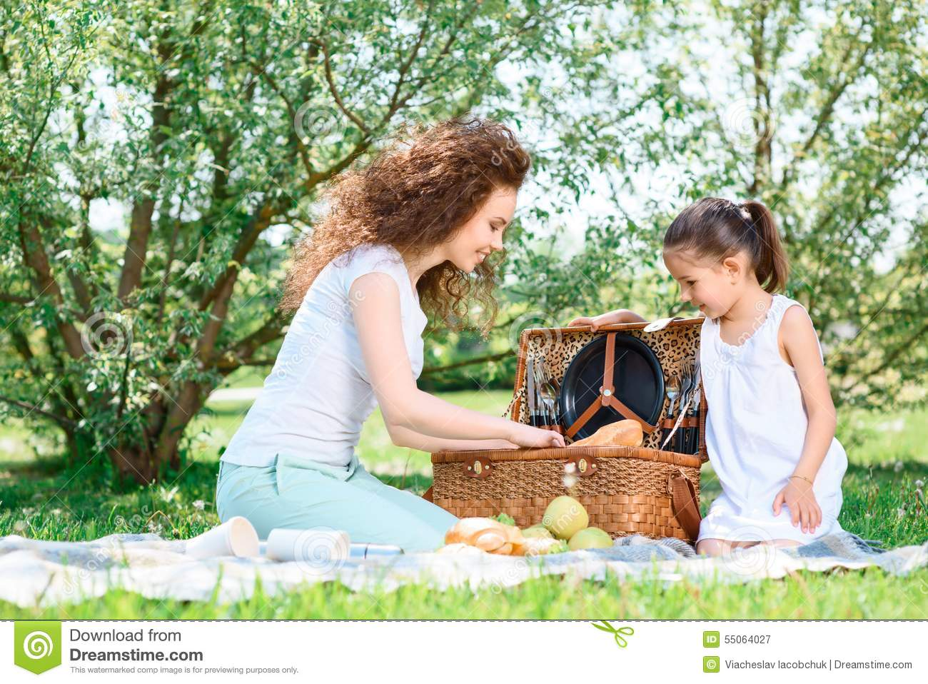 Lovely Family Picnic In The Park Stock Image - Image of picnicking ...
