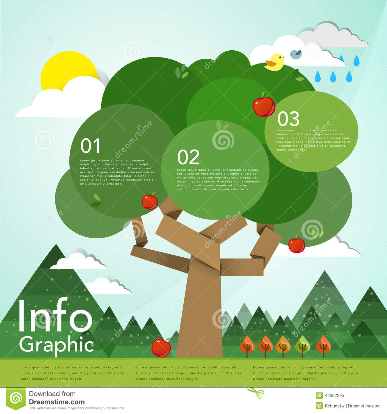 Lovely Flat Design Infographic With Tree Element Stock