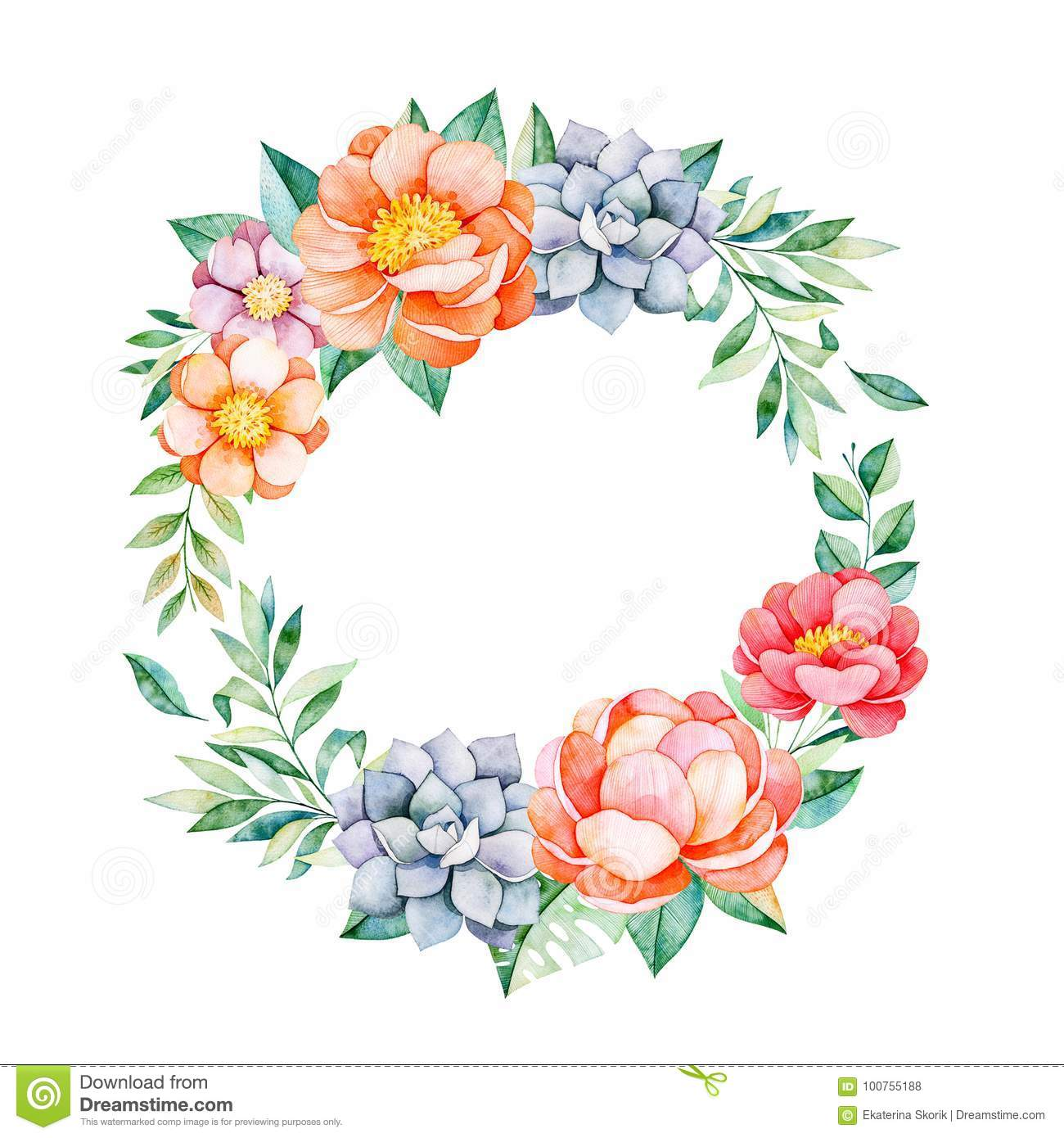 Lovely Floral Pastel Wreath With Peonyflowersleavesbranches