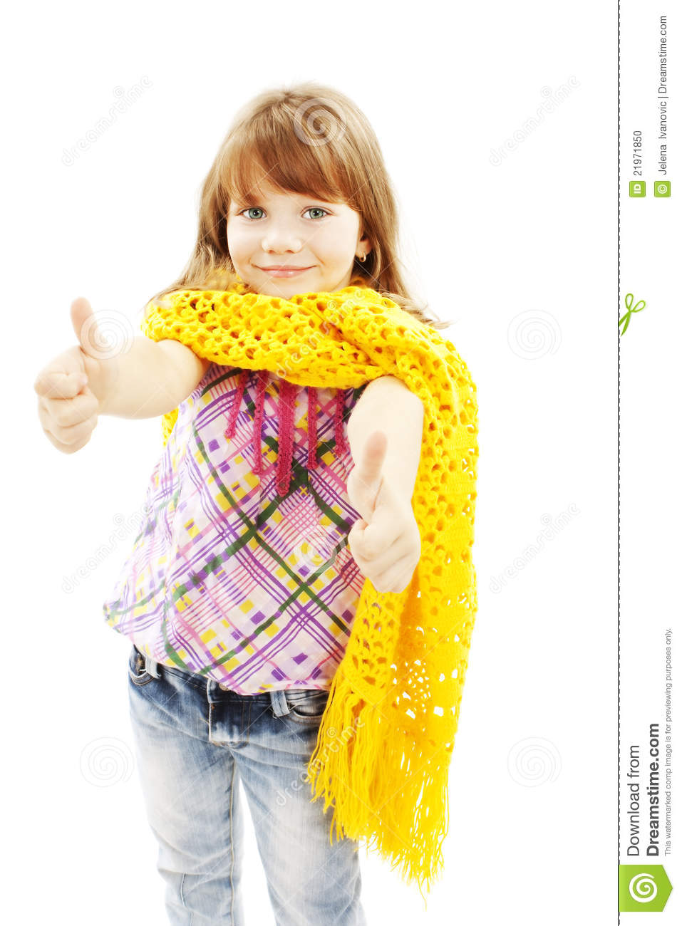 Lovely funny little girl showing thumbs up