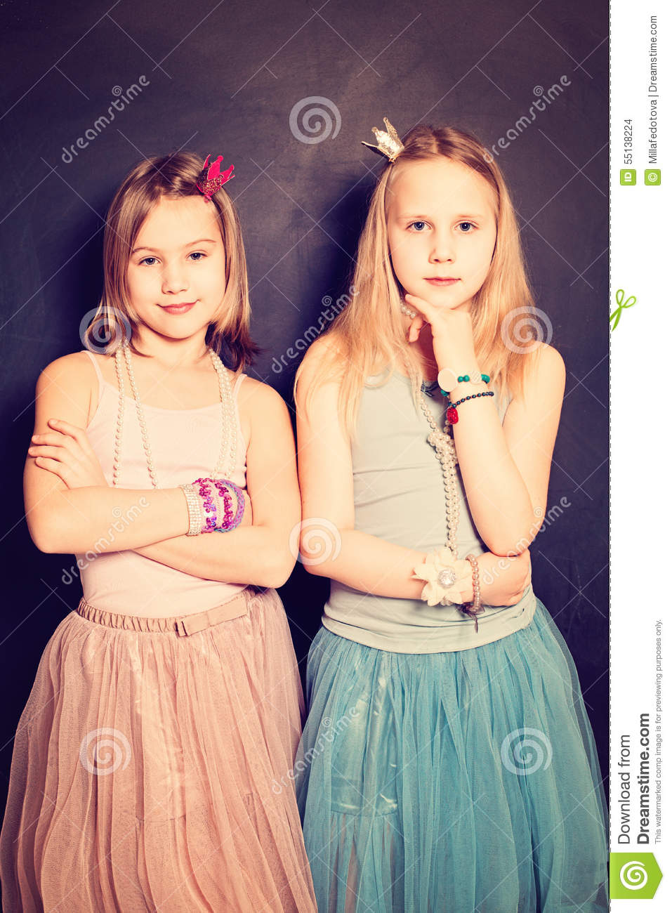 Lovely Girls Sisters. Two Young Teen Girls Friends