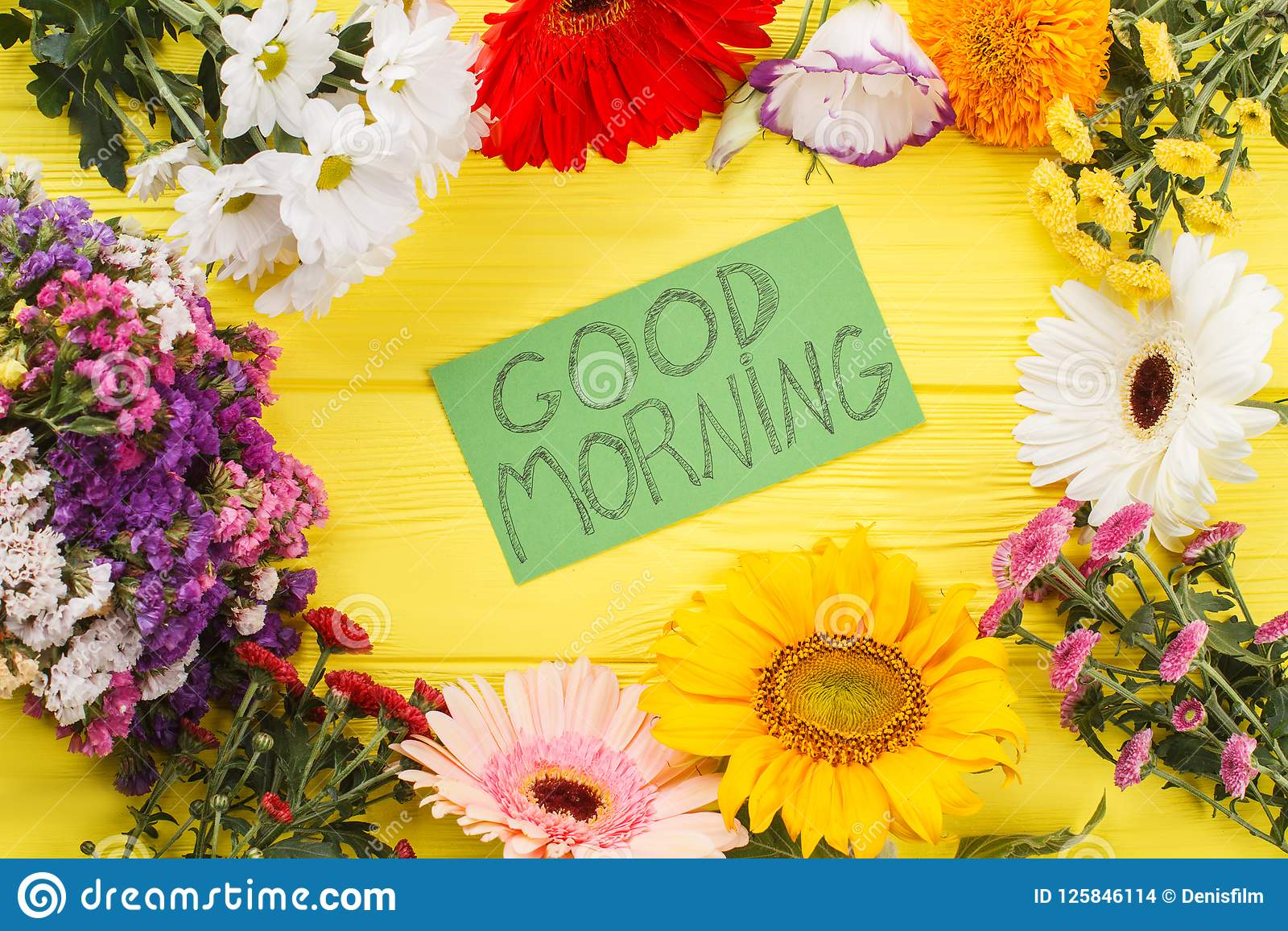 Lovely Good Morning Wish And Flowers Stock Photo Image Of Bouquet