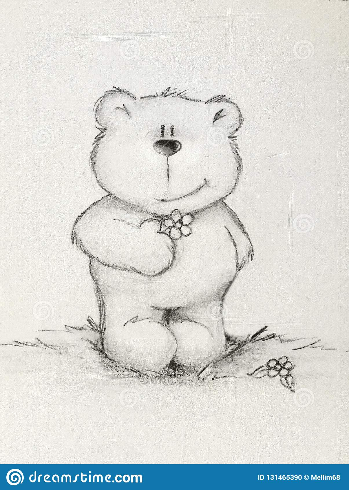 Hand drawn teddy bear holding flower textured background stock