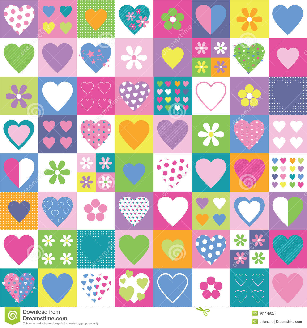 Lovely Hearts And Flowers Collection Background Stock
