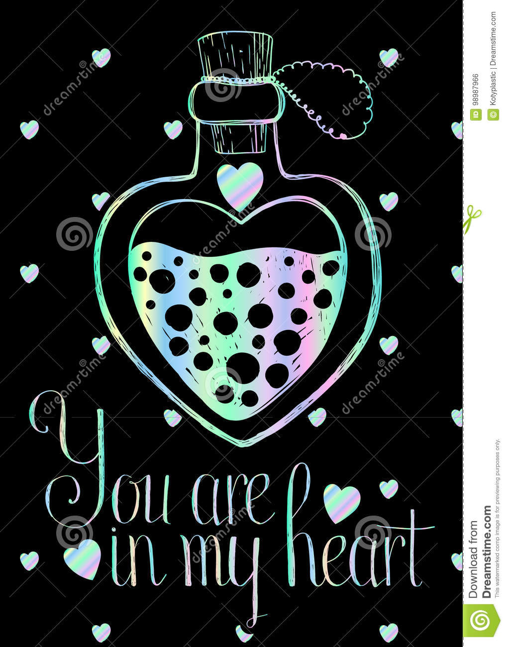 Lovely holographic greetings card on black background with lovely holographic greetings card on black background with holographic magic heart shaped bottle kristyandbryce Gallery