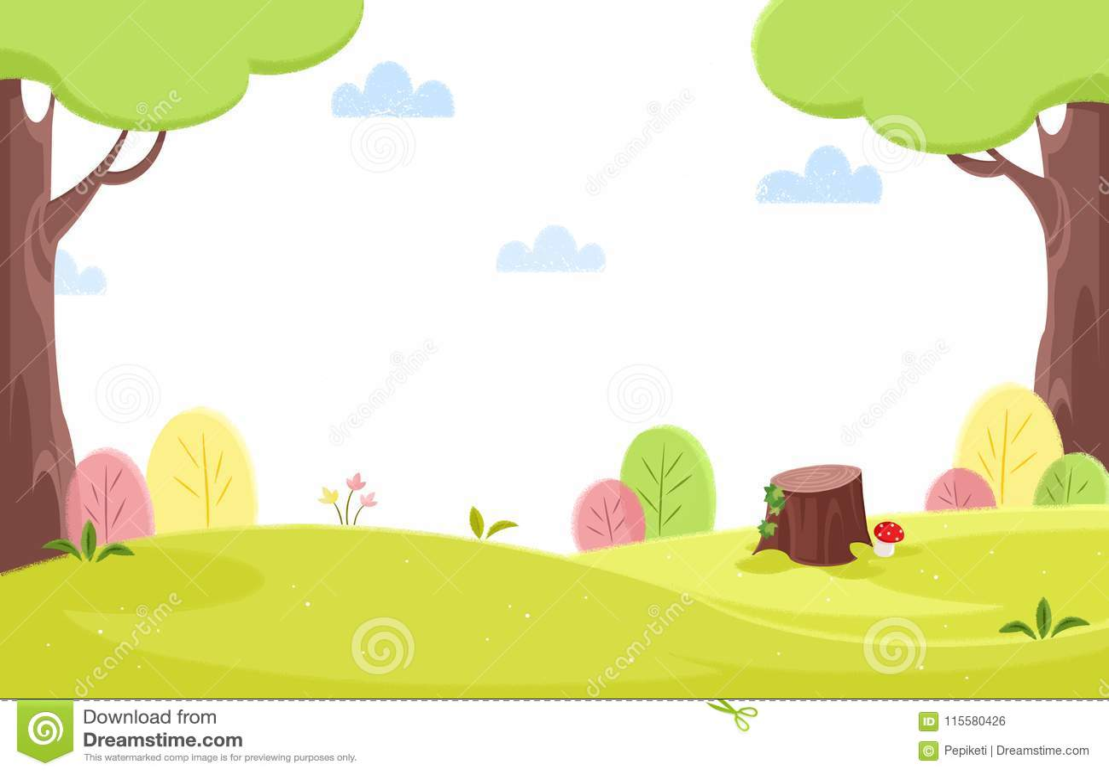 Spring Time Ln The Spring Garden Background Illustration Stock
