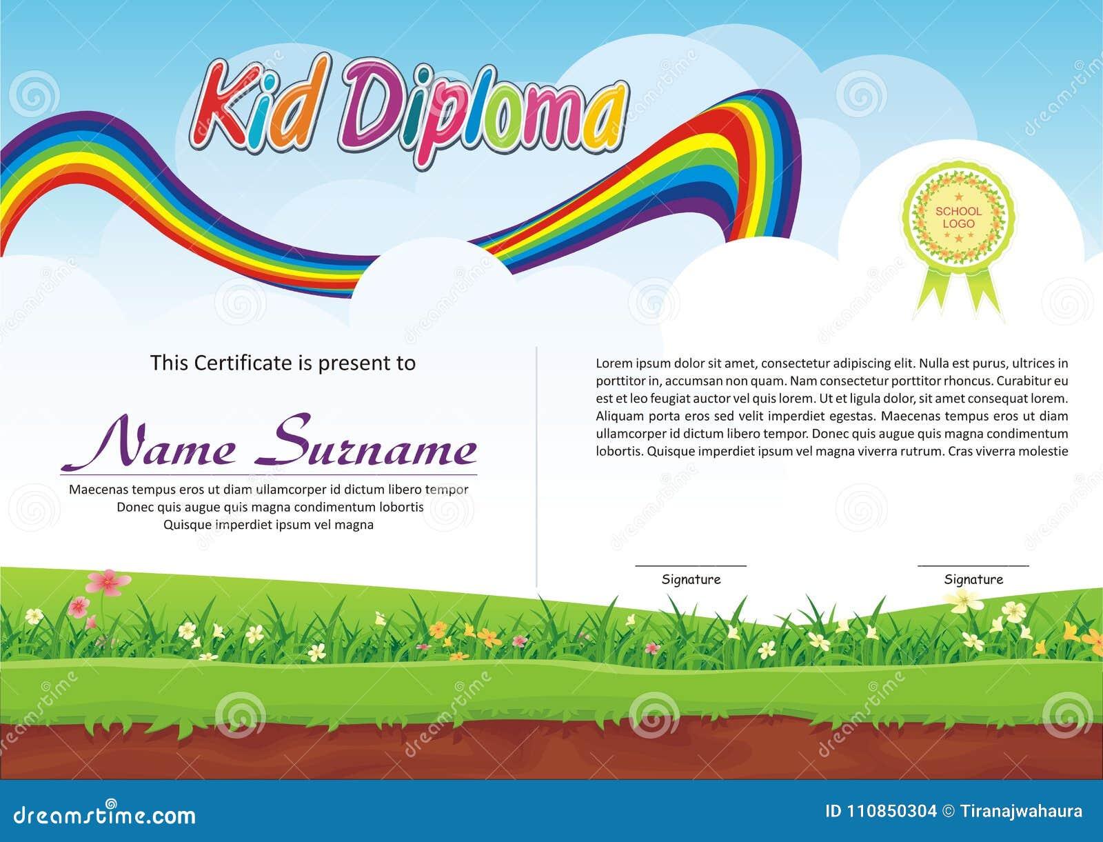 lovely kid diploma certificate stock vector illustration of