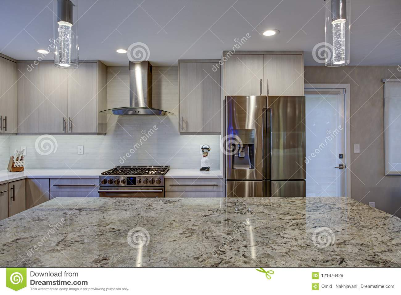 Lovely Kitchen Room With Kitchen Island Stock Image Image Of