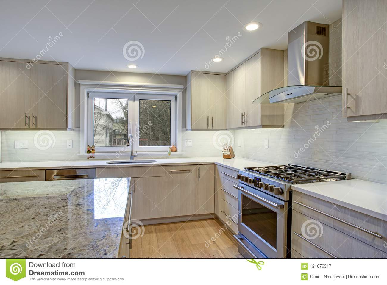 Lovely Kitchen Room With Kitchen Island Stock Image Image Of Home