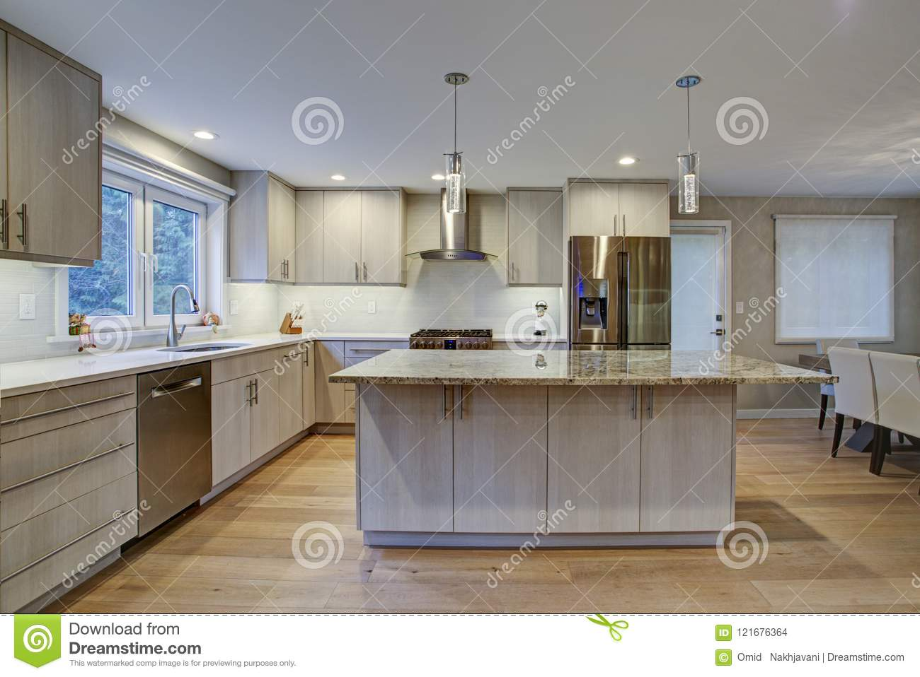 Lovely Kitchen Room With Kitchen Island Stock Photo Image Of