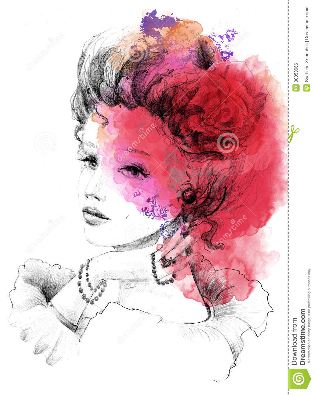Lovely Lady In Pencil Technique With Watercolor Royalty Free Stock ...