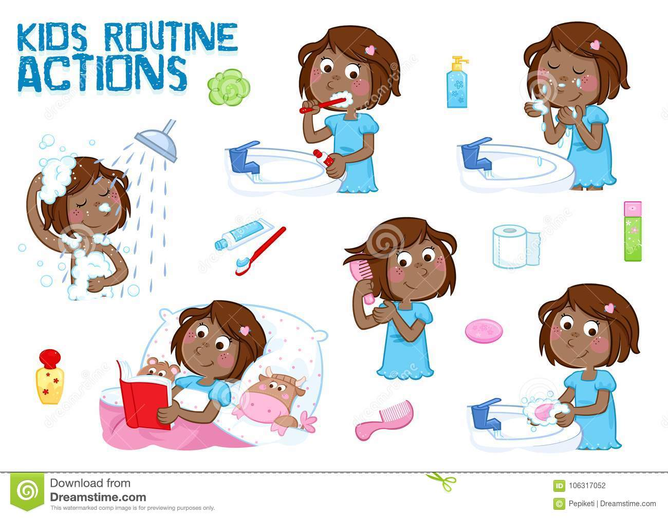 Lovely little black girl and her daily routine actions - white background
