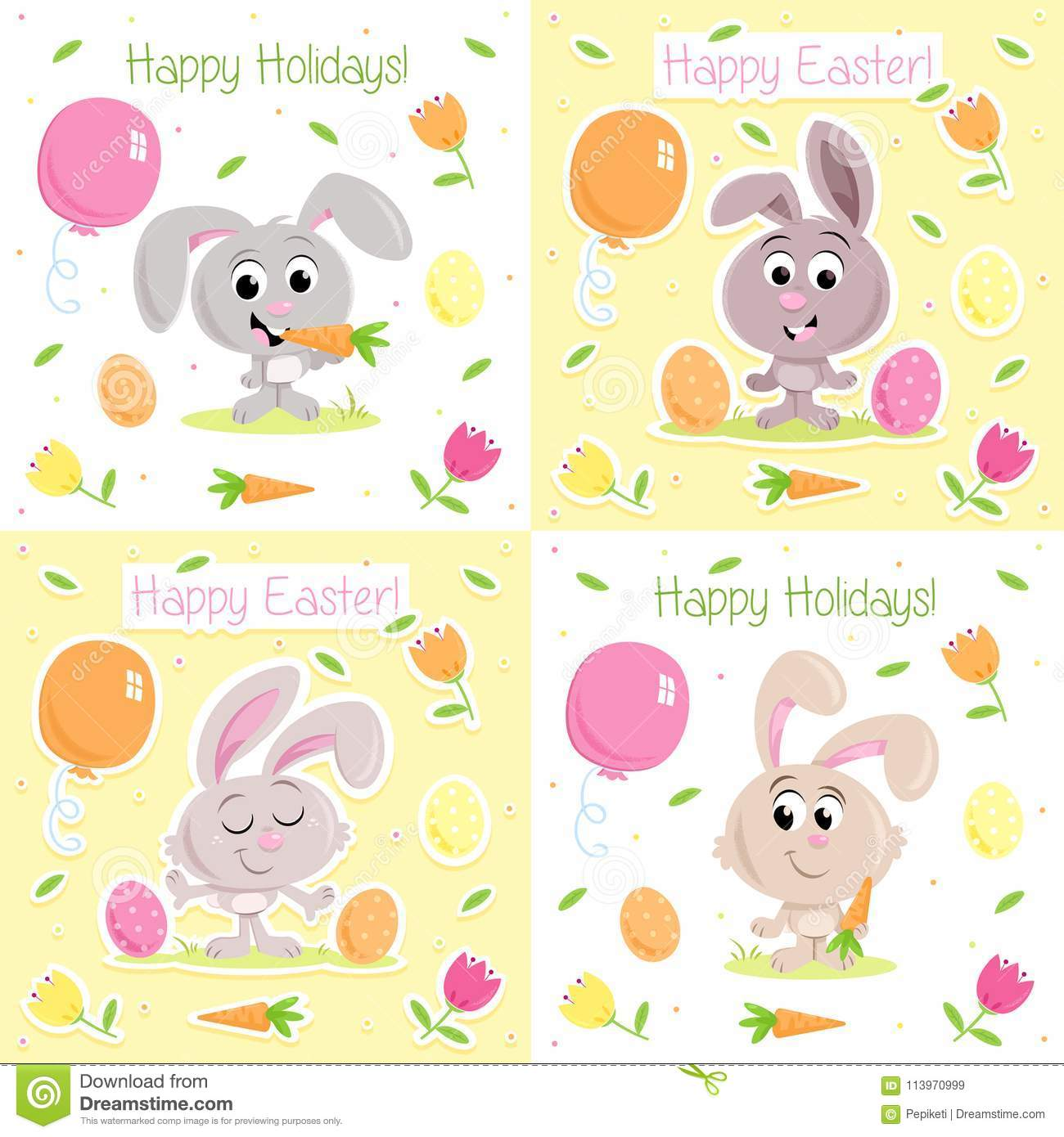 Lovely Little Easter Bunny Easter Greeting Card Set For Greeting