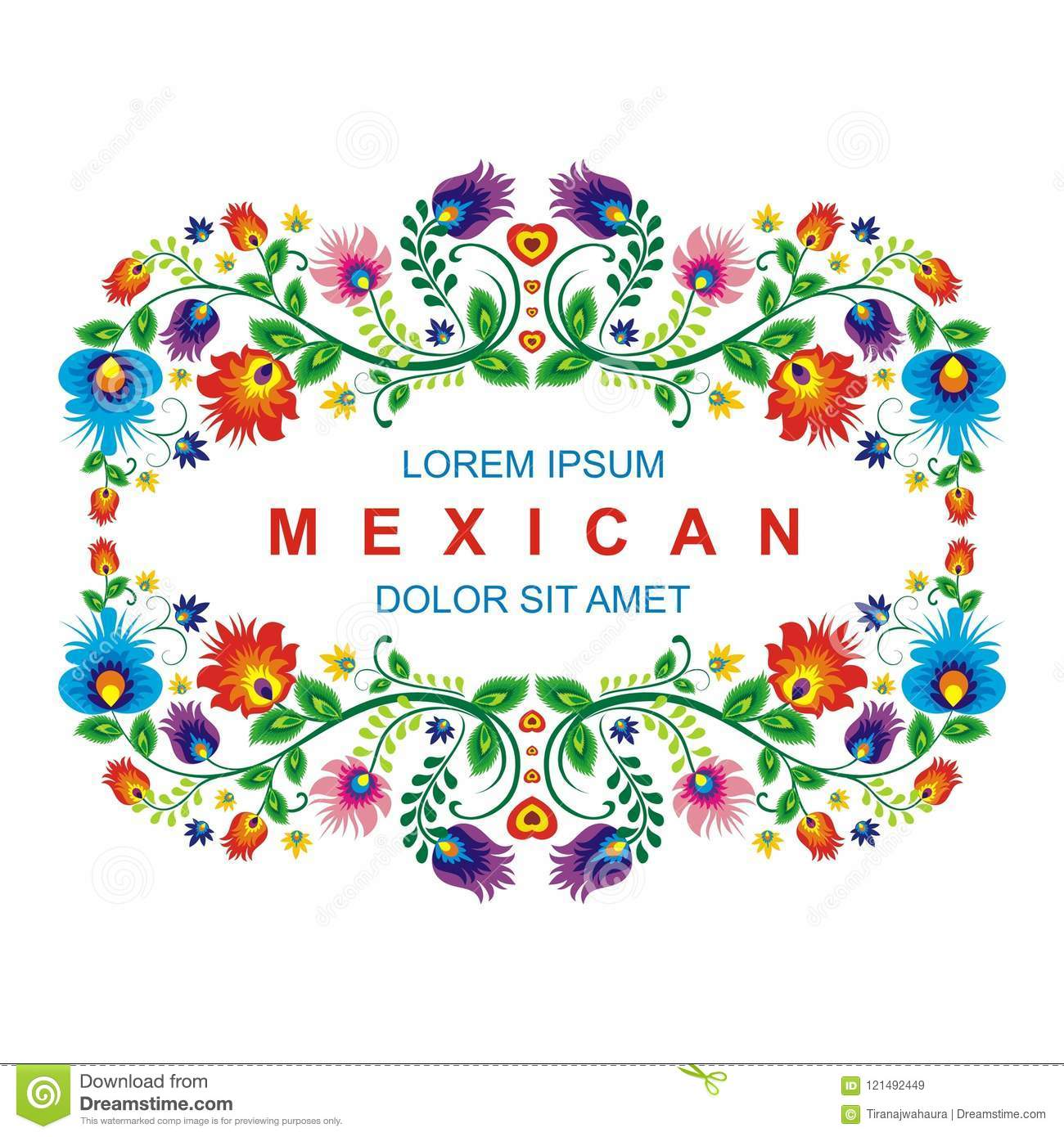 Lovely Mexican Ethnic Floral Decoration Design With Colorful Flowers Frame Suitable For Wedding Or Party Invitation Greeting Card: Mexican Wedding Invitation Backgrounds At Reisefeber.org