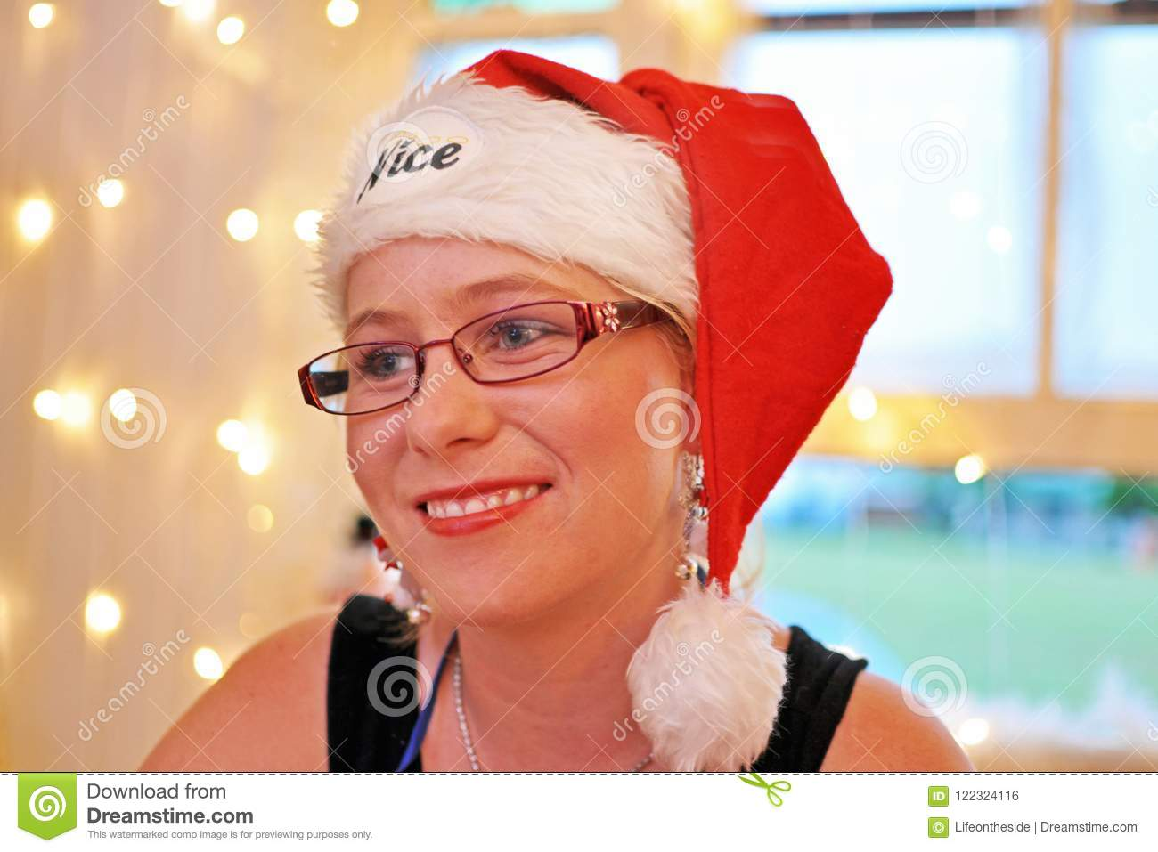 Portrait soft mood expression young joyful smiling woman Christmas time