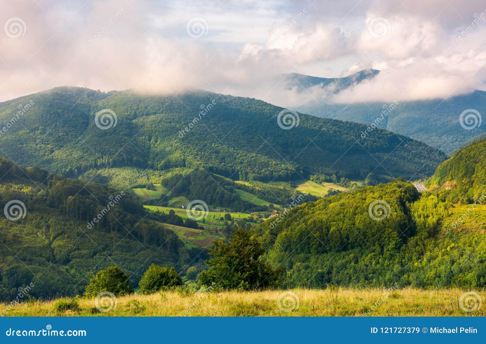 Lovely mountainous countryside in autumn